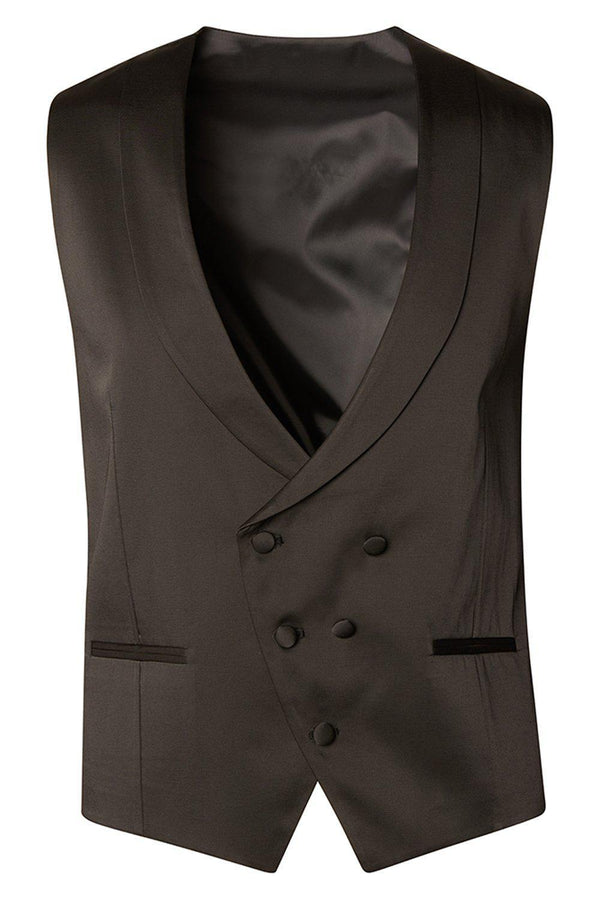 Double Breasted U-Shaped Vest - Black - Ron Tomson