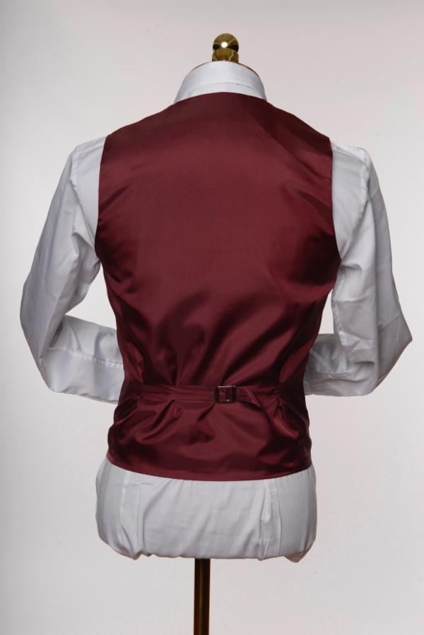 DOUBLE BREASTED U-SHAPED VEST - BURGUNDY