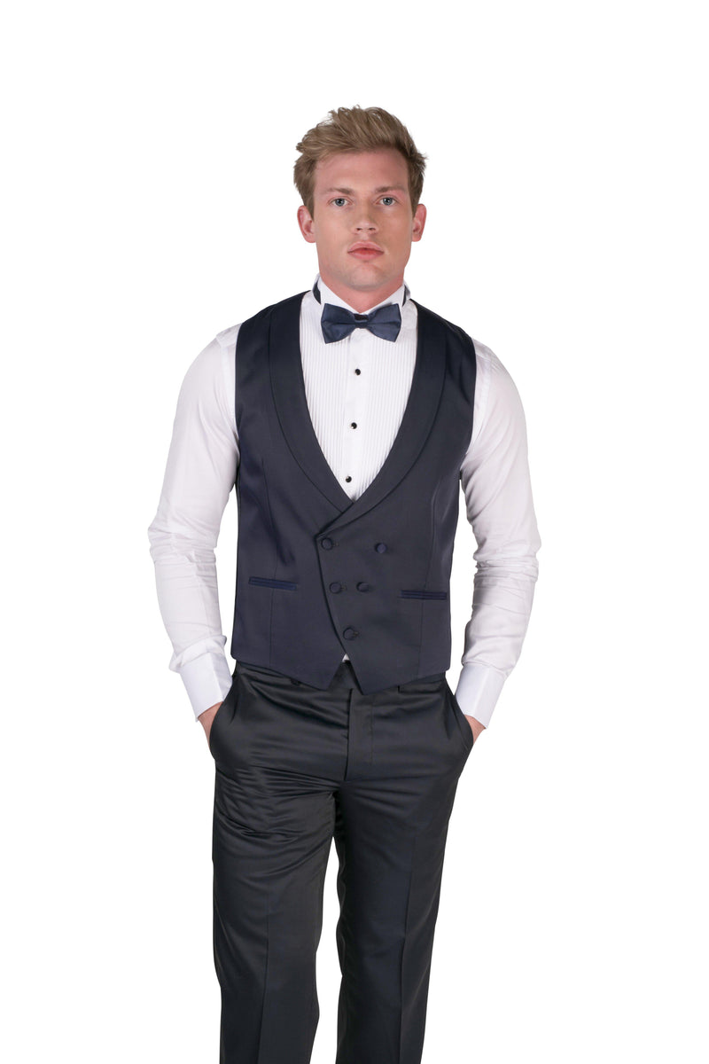 Double Breasted U-Shaped Vest - Navy - Ron Tomson