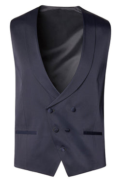 Double Breasted U-Shaped Vest - Navy
