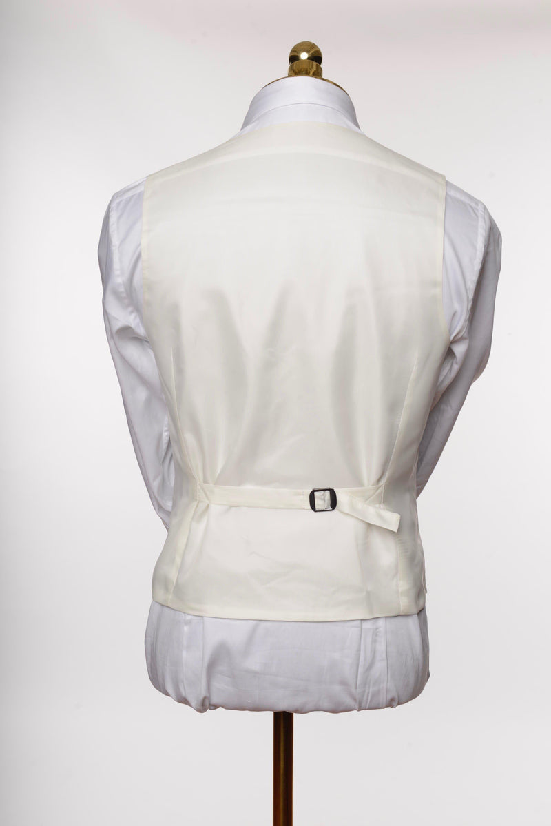 Double Breasted U-Shaped Vest - White - Ron Tomson
