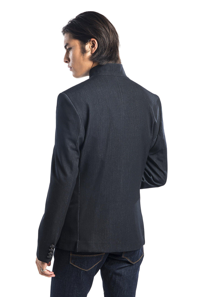 Double Stud Stand Collar Jacket - Navy-Jackets-Ron Tomson-NAVY-M/38-Ron Tomson