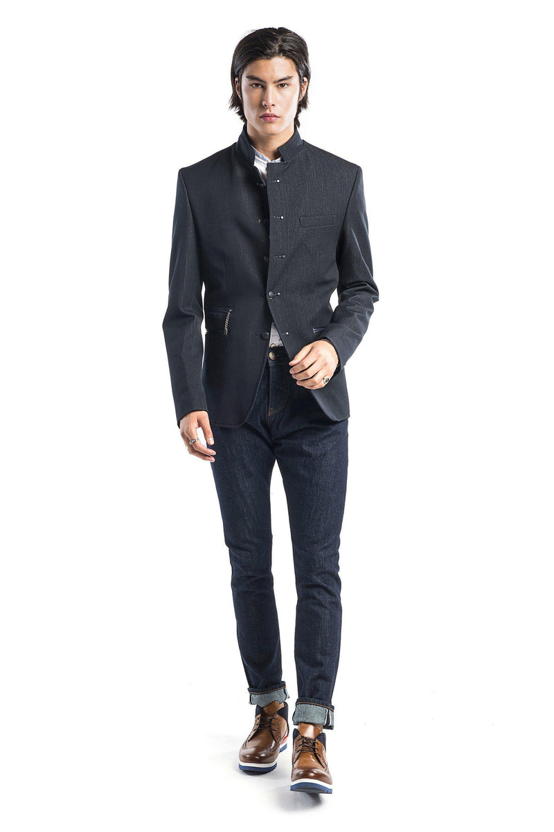Double Stud Stand Collar Jacket - Navy - Ron Tomson