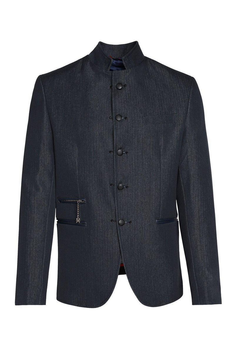 Double Stud Stand Collar Jacket - Navy