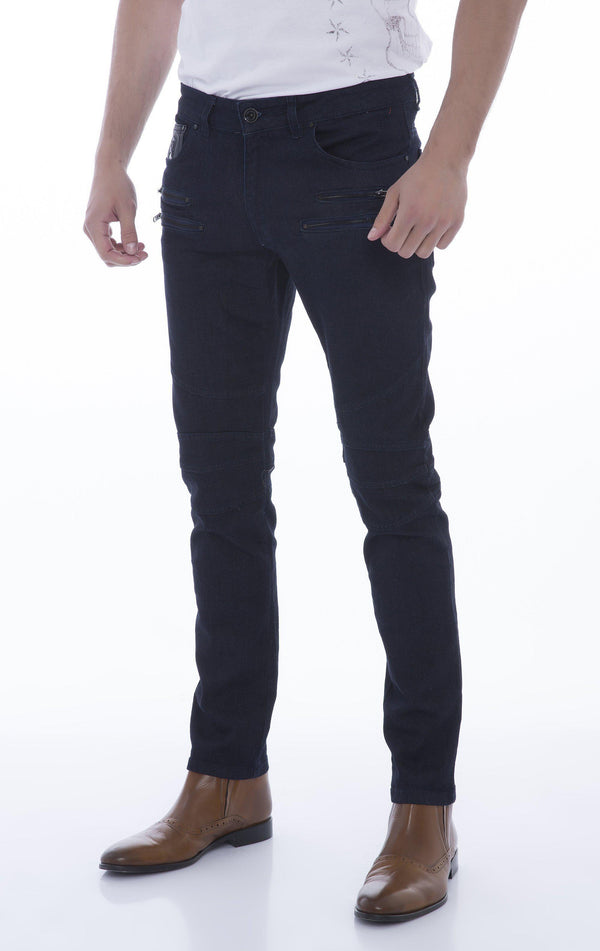 Double Zipper Front Tapered Jeans - Navy Black - Ron Tomson