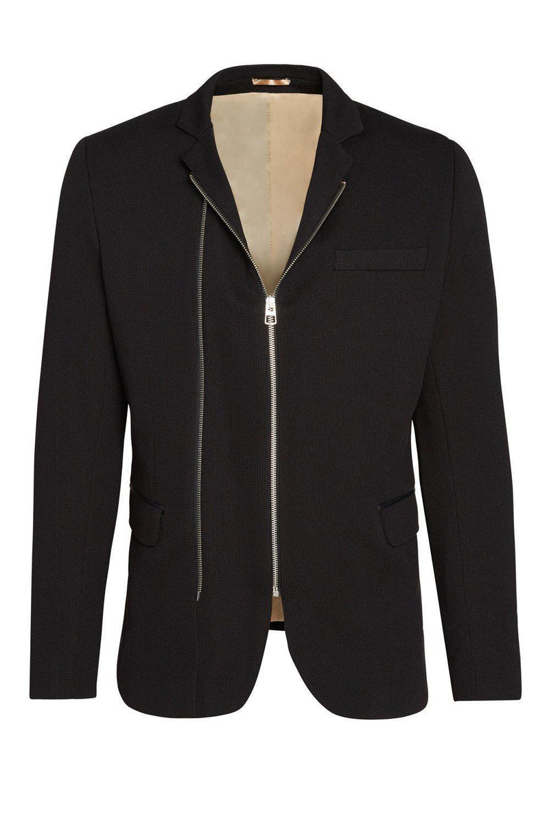 Black moto jacket for men featuring two zippers.
