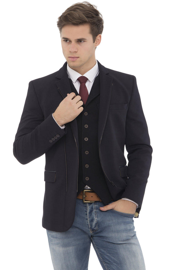 Double Zipper Jacket - More Colors-Jackets-Ron Tomson-NAVY BLACK-M-Ron Tomson