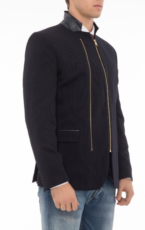 Double Zipper Jacket - Navy Gold - Ron Tomson