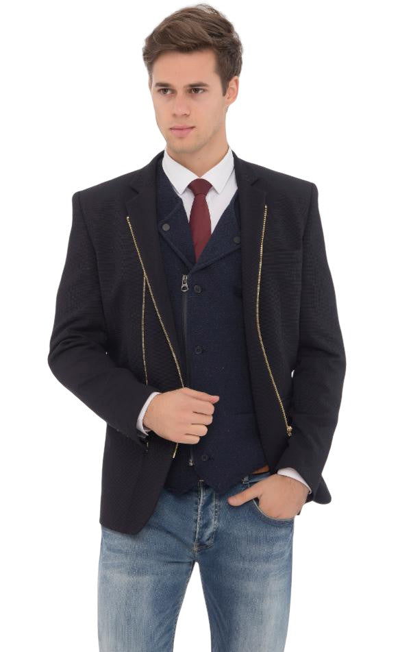 Navy-colored jacket for men featuring two gold zippers.