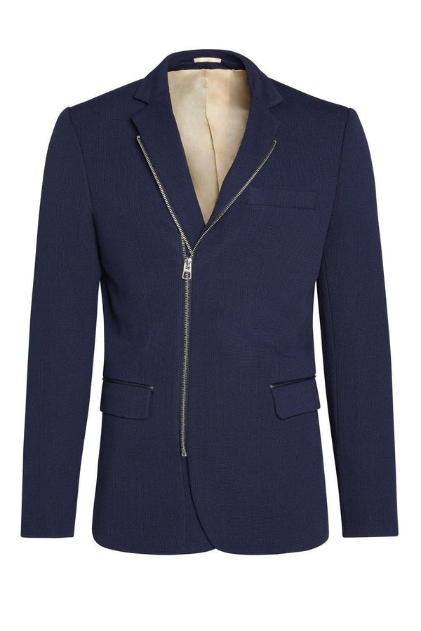 Double Zipper Jacket - Navy Silver - Ron Tomson