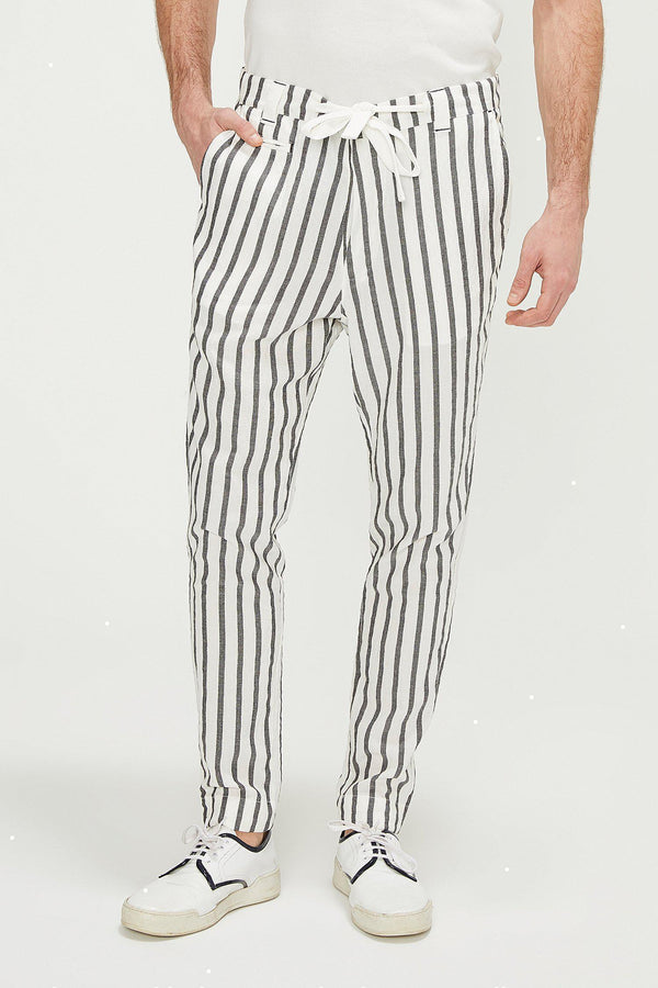 Drawstring Striped Pants - White Black