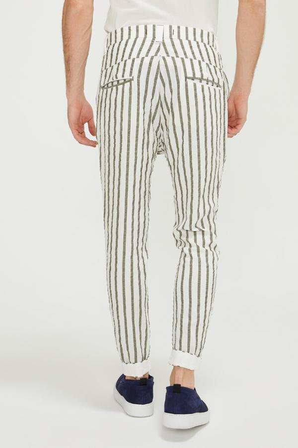 Drawstring Striped Pants - White Khaki - Ron Tomson