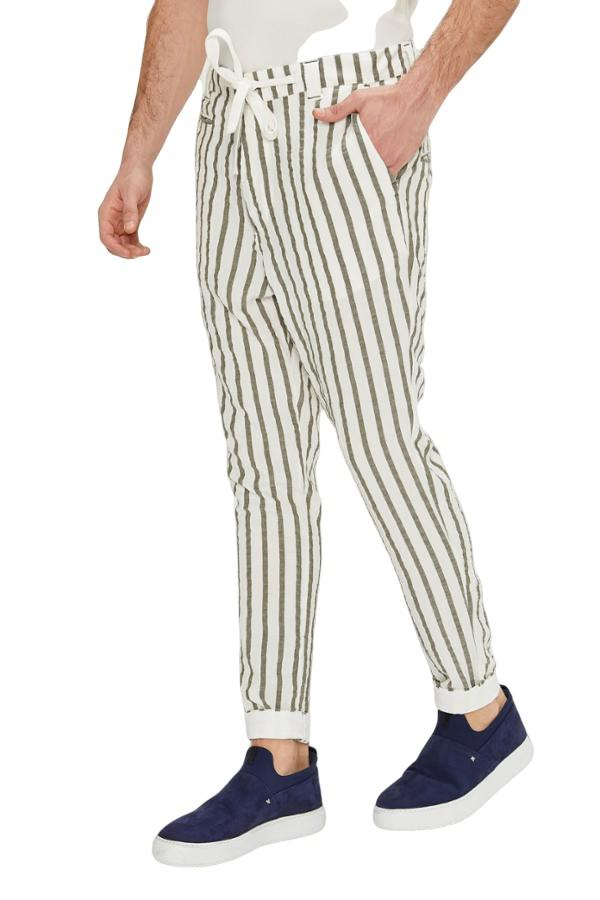 Drawstring Striped Pants - White Khaki