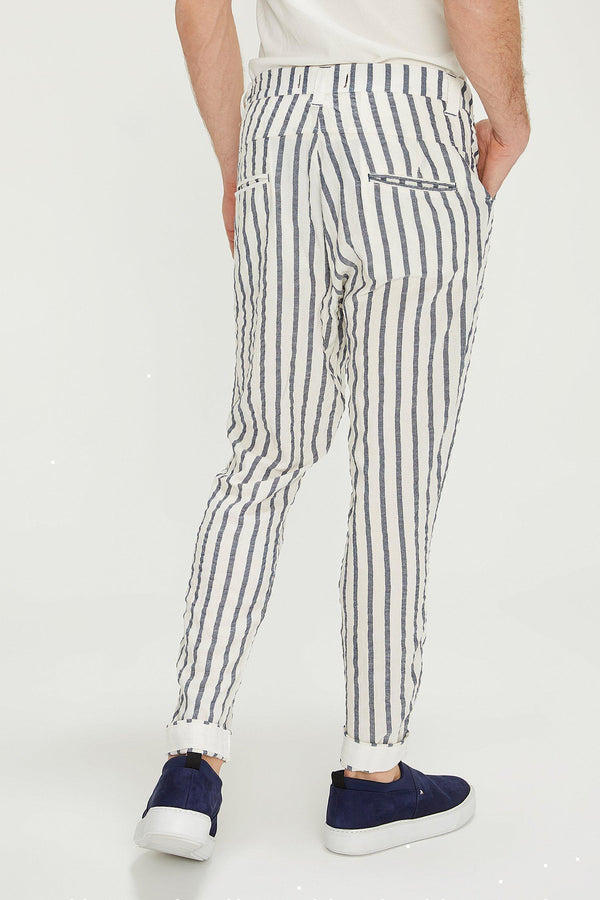 Drawstring Striped Pants - White Navy - Ron Tomson
