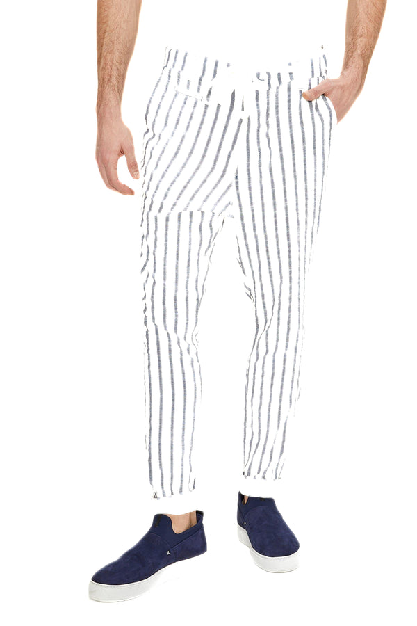 Drawstring Striped Pants - White Navy