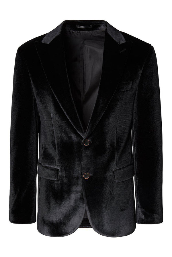 Dumond Peak Lapel Velvet Dinner Jacket - Black - Ron Tomson
