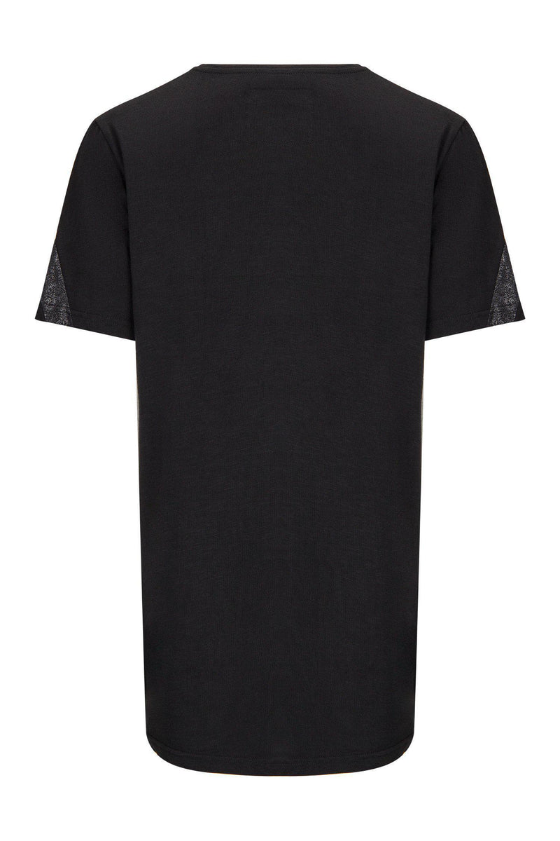 Edgy Cut V-neck T-shirt - Black