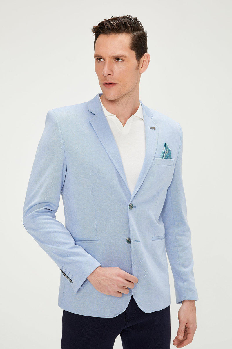 Elbow Patch Slim Fit Blazer - Blue - Ron Tomson