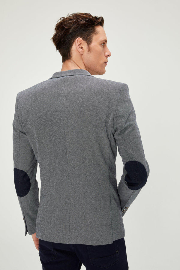 Elbow Patch Slim Fit Blazer - Dark Navy - Ron Tomson