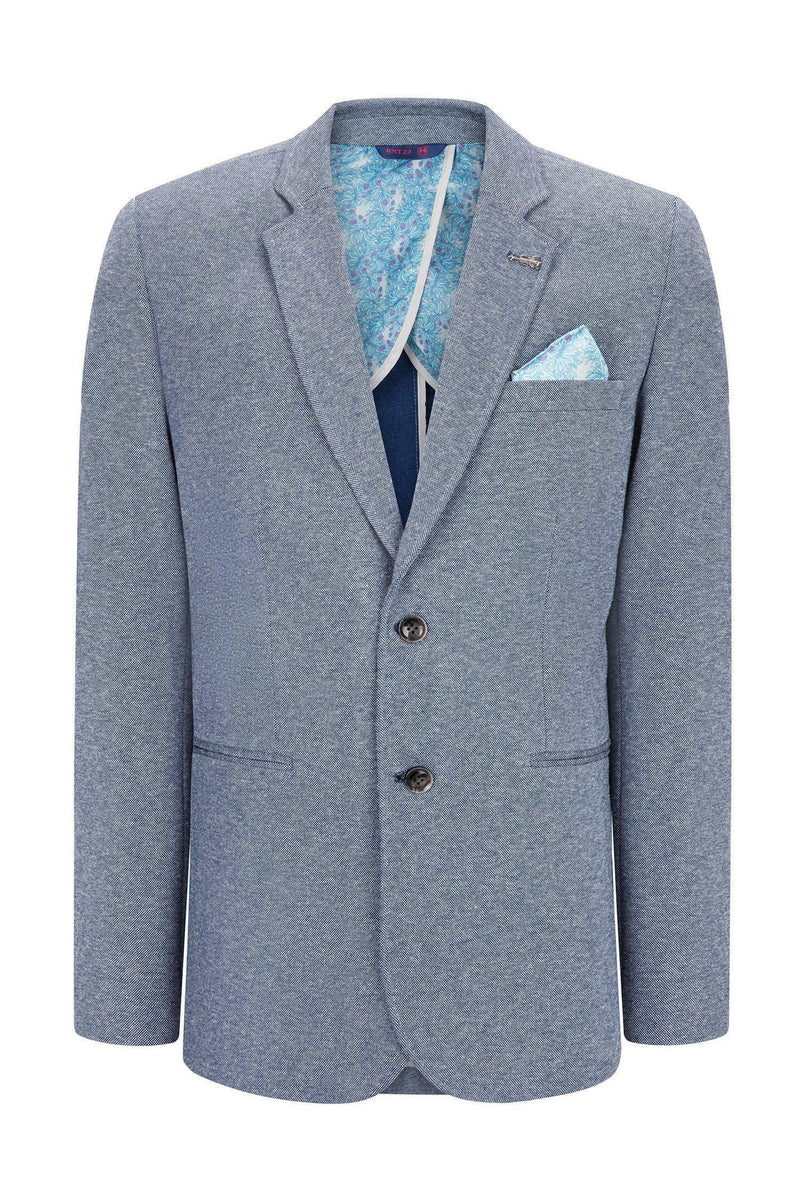 Elbow Patch Slim Fit Blazer - Navy 1