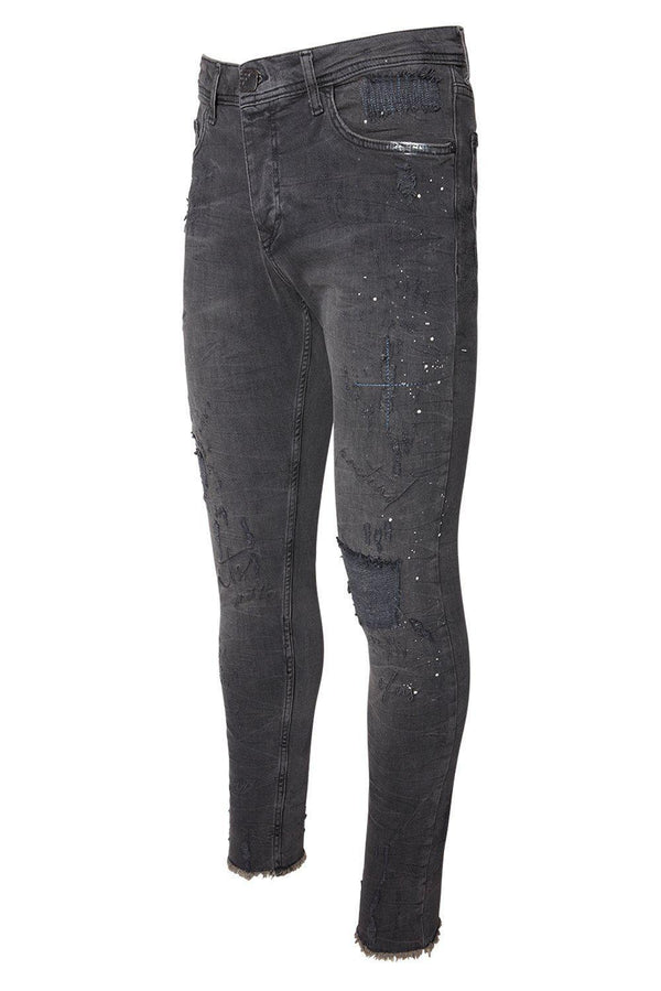 EMBELLISHED SKINNY FIT BLACK JEANS