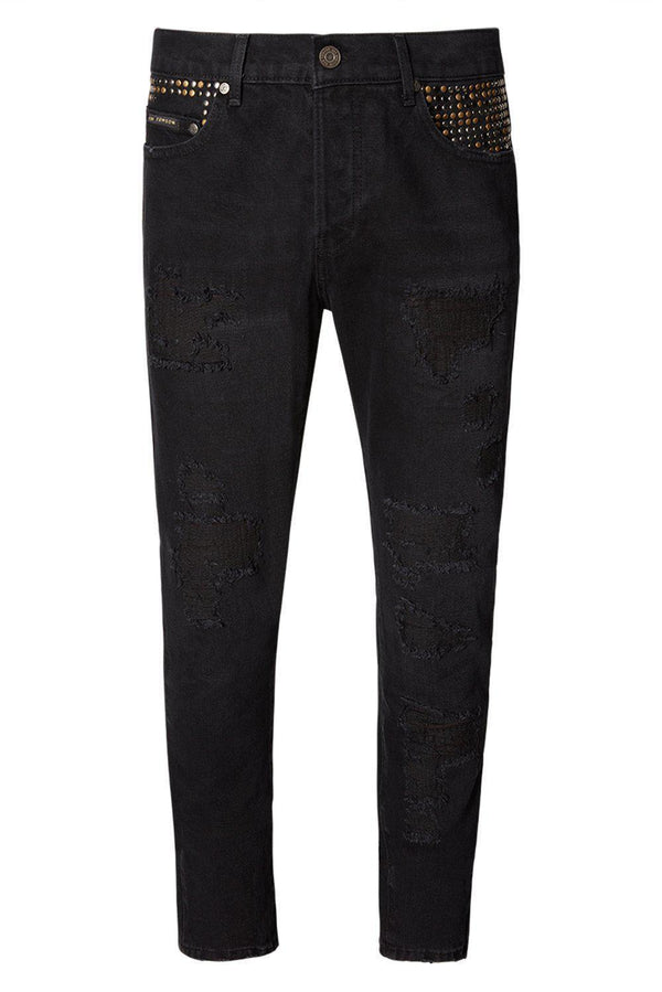 EMBELLISHED SLIM STRAIGHT BLACK JEANS - Ron Tomson