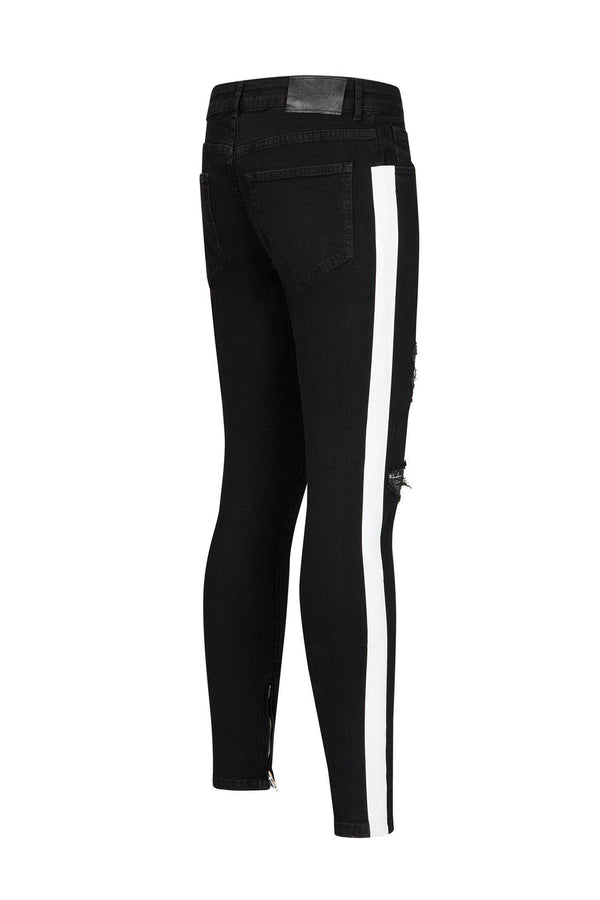 Embroidered Neon Skinny Jeans - Black Green - Ron Tomson
