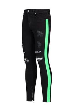 Embroidered Neon Skinny Jeans - Black Green