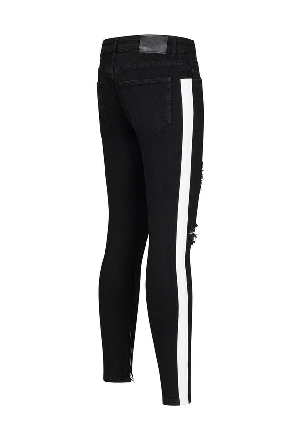 Embroidered Neon Skinny Jeans - Black Red