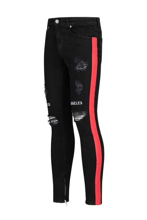 Embroidered Neon Skinny Jeans - Black Red - Ron Tomson