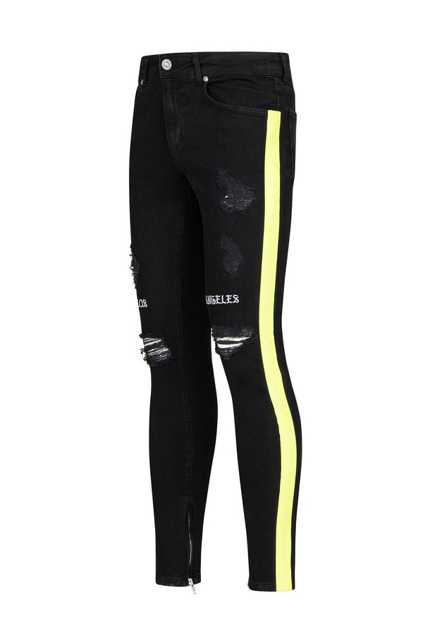 Embroidered Neon Skinny Jeans - Black Yellow - Ron Tomson