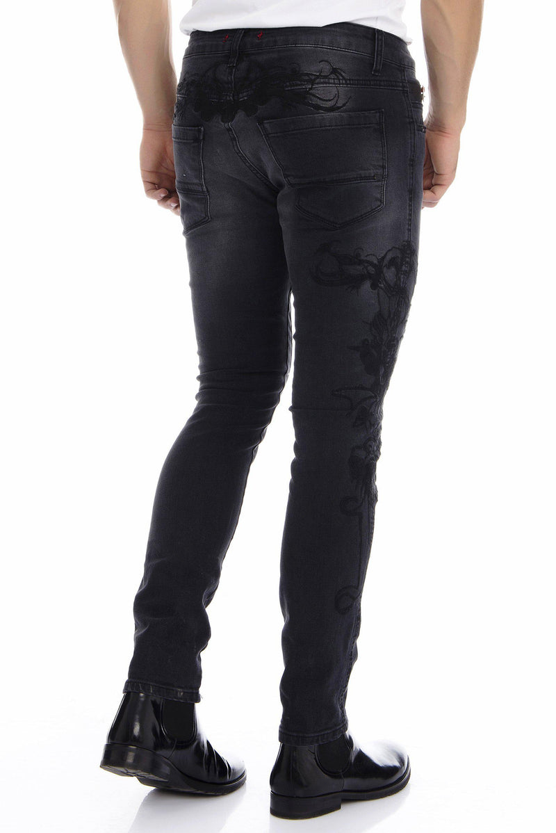 Embroidered Skinny Jeans - BLACK - Ron Tomson