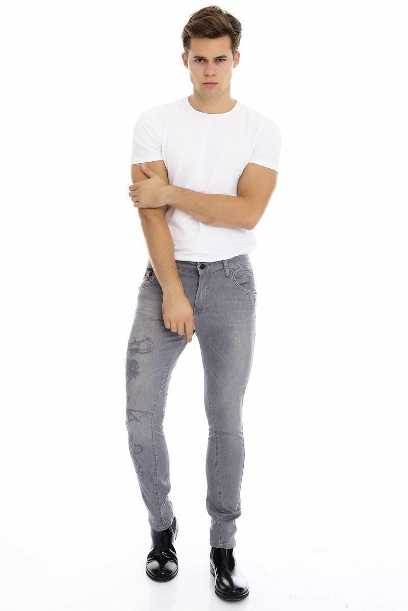 Embroidered Tapered Jeans - More colors-Jeans-Ron Tomson-BLACK-29-Ron Tomson