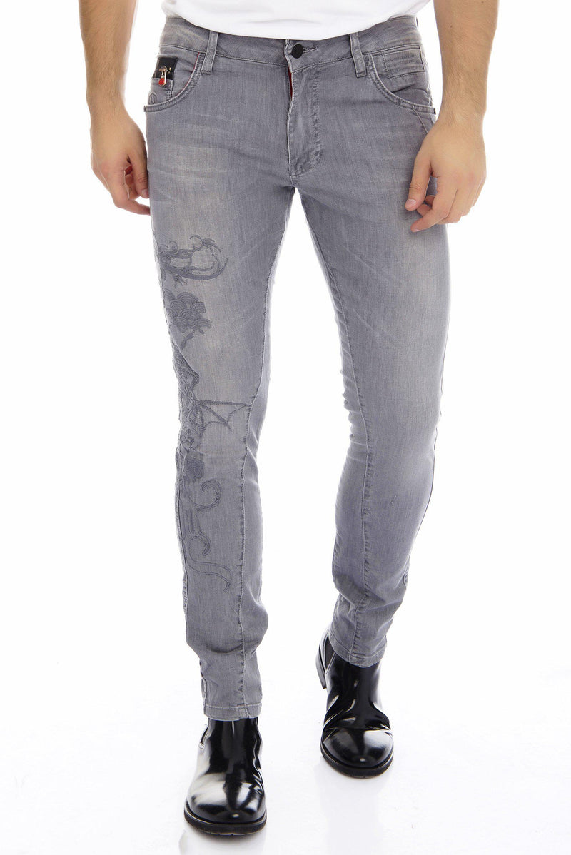 Embroidered Skinny Jeans - GREY - Ron Tomson