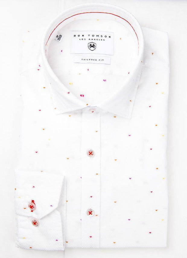 Embroidered Slim Fit Cotton Shirt - White Red 1