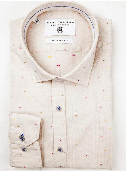 Embroidered Slim Fit Shirt - Beige