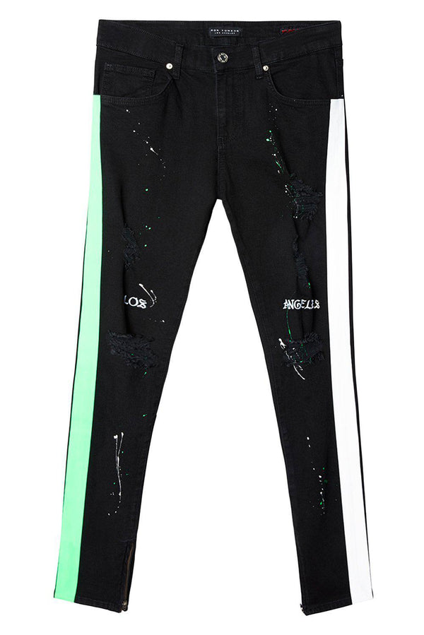 Embroidered Splatter Neon Skinny Jeans - Black Green - Ron Tomson