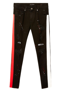 Embroidered Splatter Neon Skinny Jeans - Black Red