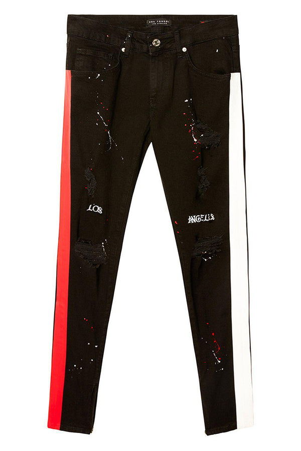 Embroidered Splatter Neon Skinny Jeans - Black Red - Ron Tomson