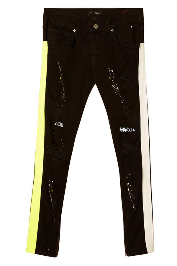 Embroidered Splatter Neon Skinny Jeans - Black Yellow - Ron Tomson