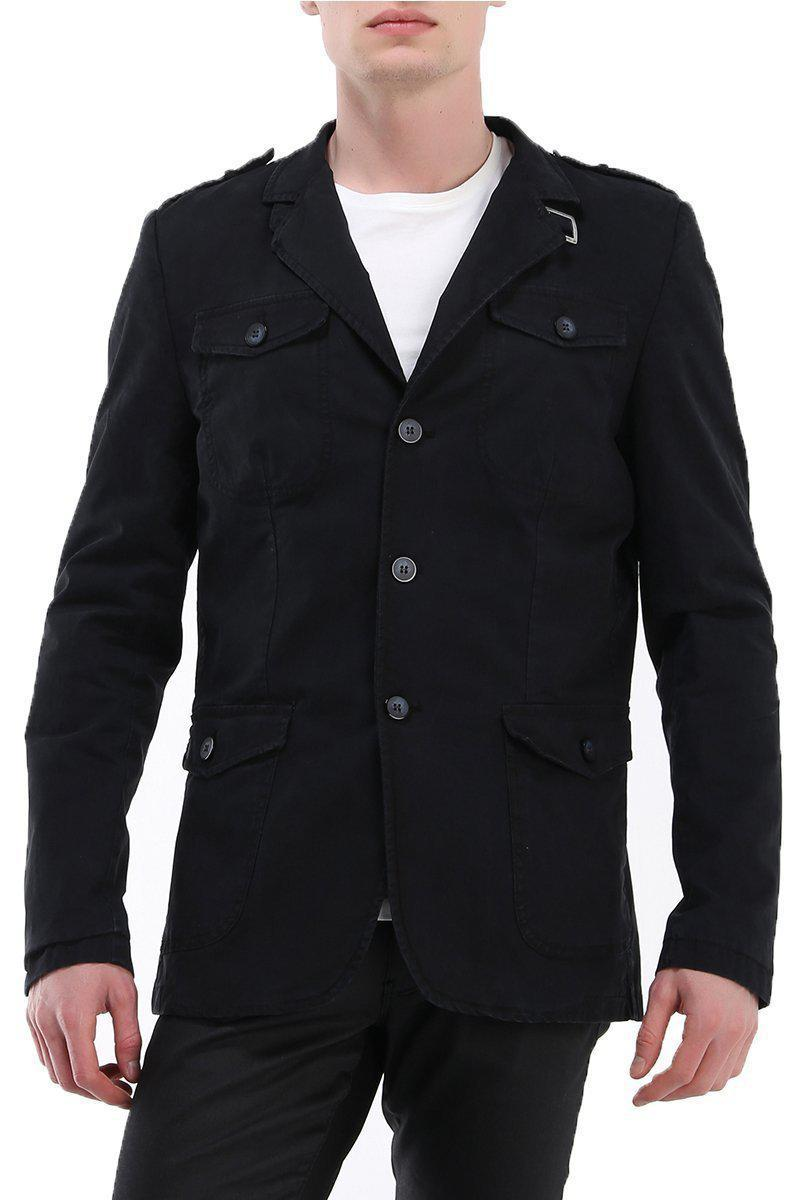 Epaulette Shoulder Multi-pocket Safari Jacket - Black - Ron Tomson