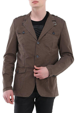 Epaulette Shoulder Multi-pocket Safari Jacket - Dark Khaki
