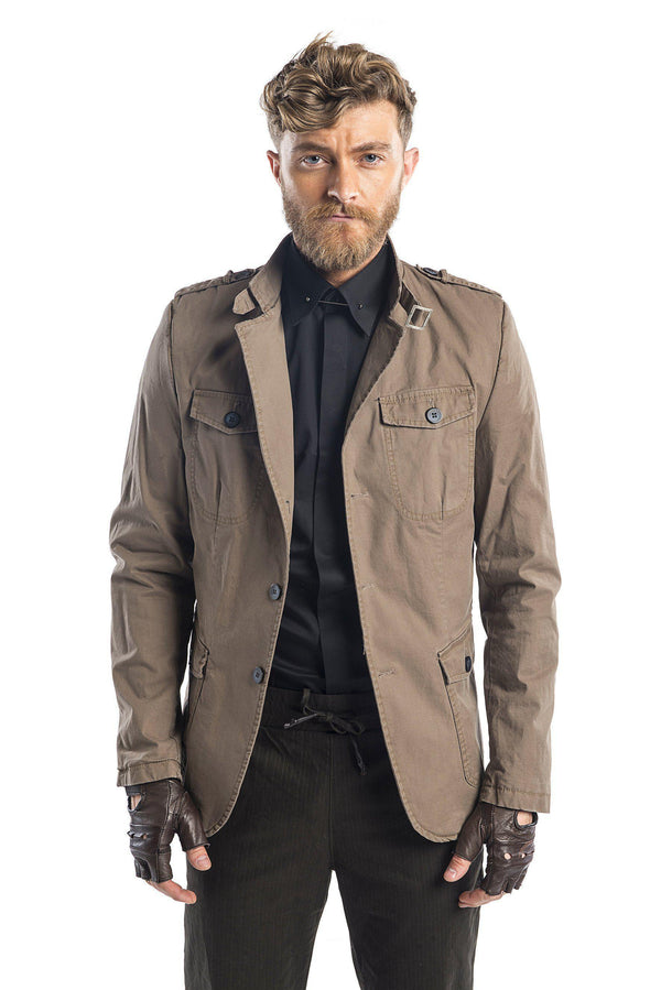 Epaulette Shoulder Multipocket Safari Jacket - More Colors-Jackets-Ron Tomson-STONE-M/38-Ron Tomson