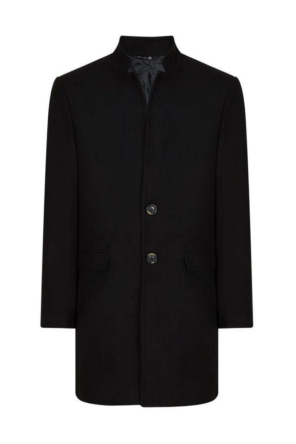 Essential High Collar Car Coat - Black