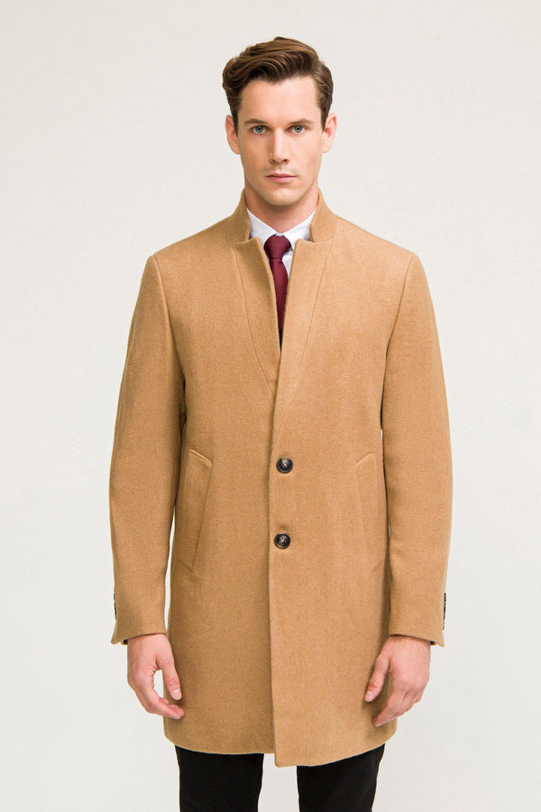 Essential High Collar Car Coat - Camel