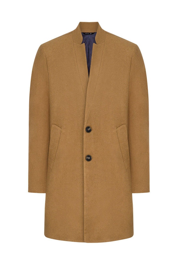 Essential High Collar Car Coat - Camel - Ron Tomson