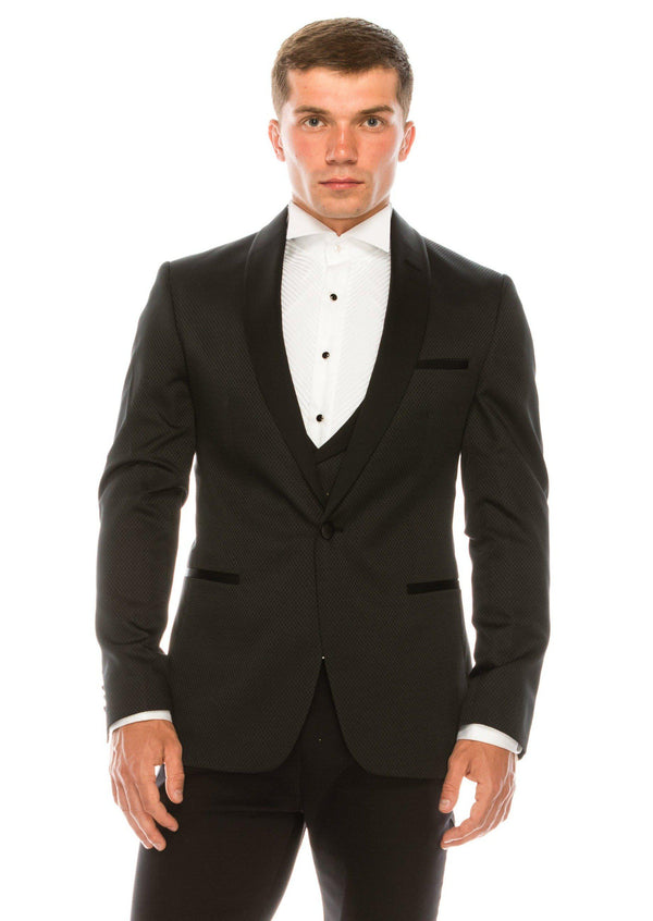 European Fit Tuxedo Jacket with Pants - Black