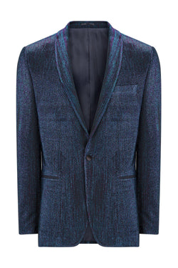 European Fit Tuxedo Jacket with Pants - Blue