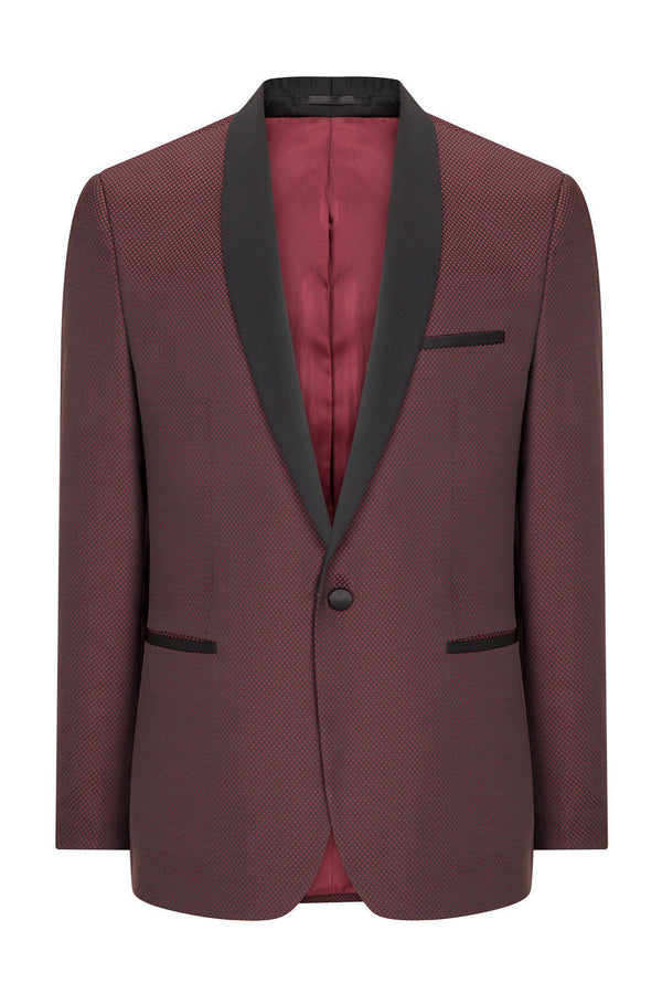 European Fit Tuxedo Jacket with Pants - BURGUNDY