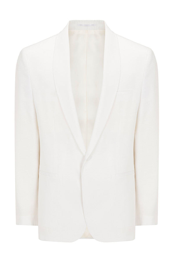 European Fit Tuxedo Jacket with Pants - White - Ron Tomson